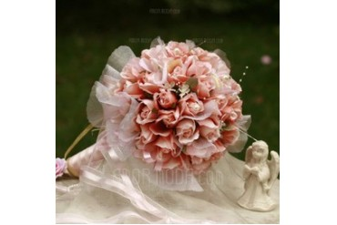 Girly Round Satin Bridal Bouquets (124032064)