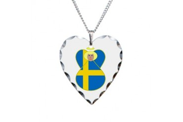 Small Swedish Flag Angel Blonde Hair Necklace Hear Flag Necklace Heart Charm by CafePress