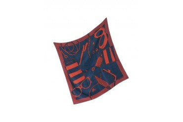 Red Blue and Burgundy Accessories Print Silk Square Scarf