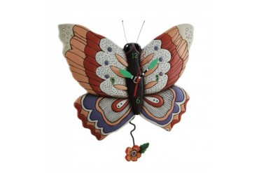 Allen Designs Free Flying Butterfly Pendulum Wall Clock
