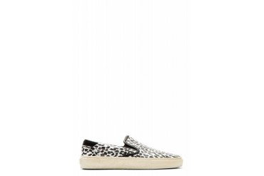 Saint Laurent Black And White Babycat Slip on Shoes
