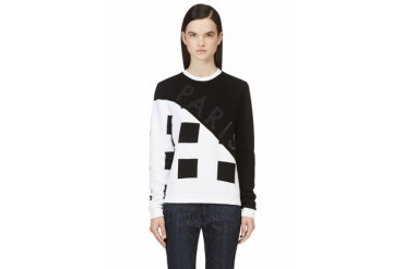Kenzo Black And White Corduroy Square print Sweatshirt