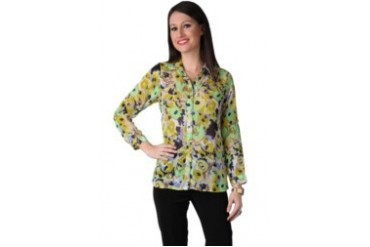 Now & Forever Now Forever Flower Water Print Green Navy Shirt with Gold Button