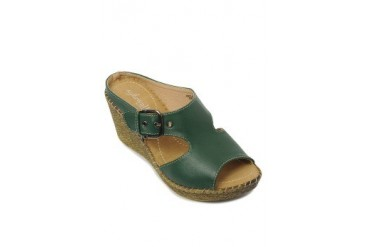 Green Beatrice Wedges Slide