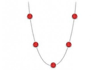 By The Yard GF Bangkok Ruby Necklace on 14K White Gold Bezel Set 2.00 ct.tw