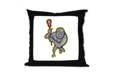 Gorilla Ape With Lacrosse Stick Cartoon Suede Pill Lacrosse Suede Pillow by CafePress