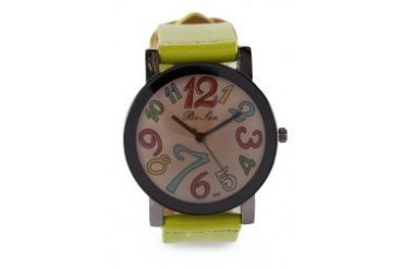 Fourskin Light Green Colourful Leather Watch
