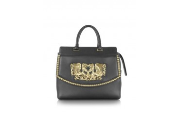 Aphrodite Jewel Goldtone with Studs and Black Leather Tote