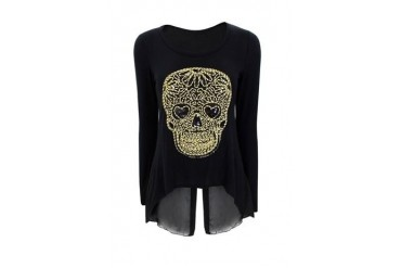 Skull split chiffon back top