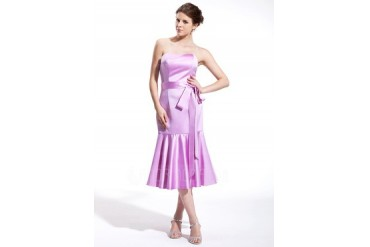 Trumpet/Mermaid Sweetheart Tea-Length Satin Bridesmaid Dress With Bow(s) (007026265)