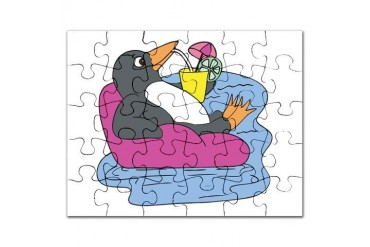 penguin on vacation.png Funny Puzzle by CafePress