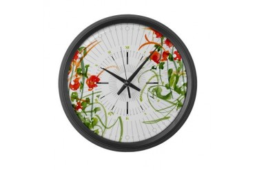 Atom Flowers 7 Art Large Wall Clock by CafePress
