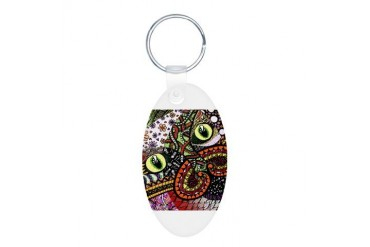 Cat Ink- Colour Animal Aluminum Oval Keychain by CafePress