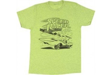 Speed Racer Comic Panel Speckled Green T-Shirt Sheer
