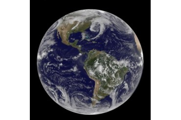Satellite view of full Earth showing low pressure systems.
