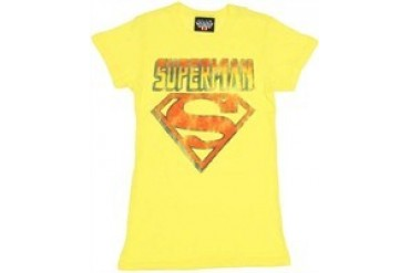DC Comics Superman Striped Name and Symbol Baby Doll Tee by JUNK FOOD