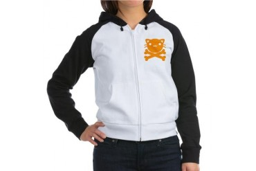 BlackJackCat Animal Women's Raglan Hoodie by CafePress
