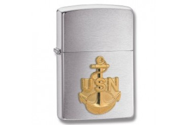 "Zippo ""Navy Anchor Emblem"" Lighter with Brushed Chrome Finish"