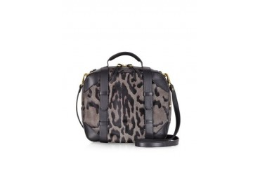 Sam Grey Leopard Print Haircalf Shoulder Bag