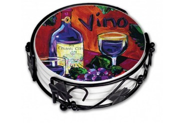 Vino Wine Tasting Ceramic Drink Coasters With Holder Gift Set