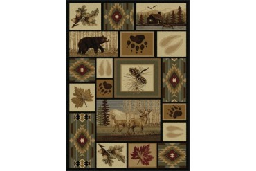 Tayse Nature Southwestern Multi-Color Nature Print Boxes Bears Area Rug