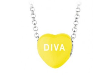 Diva Yellow Heart Pendant Necklace With 16 inch Rolo Rhodium Chain