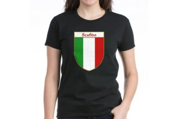 Scafido Italian Flag Shield Family Women's Dark T-Shirt by CafePress