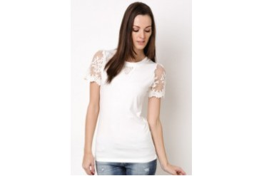 Lady Jersey Blouse With Lace Chest and Sleeve