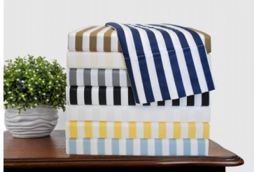 Striped Cabana 600-Thread-Count Duvet Cover Set With Shams, Cotton Rich,8
