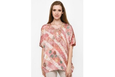 Accent Festive Collection Batwing Silky Satin Batik Print