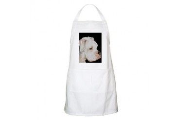 white boxer profile BBQ Pets Apron by CafePress