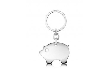 Sterling Silver Piggy Keychain