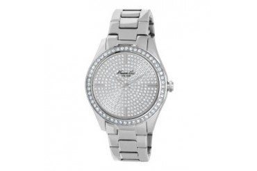 Stainless Steel Watch With Pave Crystal Dial and Bezel