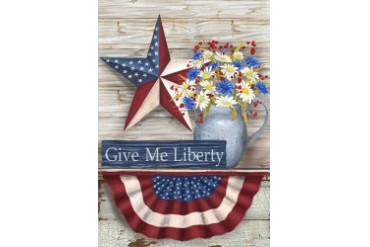 Patriotic Holiday Barn Star Give Me Liberty Country Crock Garden Flag