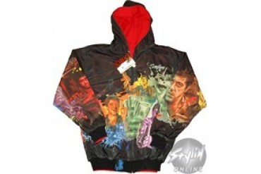 Scarface Red and Black Reversible Collage Full Zipper Hooded Sweatshirt