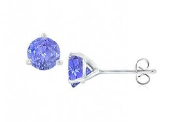 K White Gold Martini Style Created Tanzanite Stud Earrings with 1.00 CT TGW