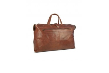 Large Brown Italian Leather Carry All Travel Bag