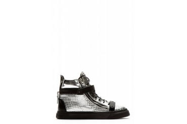 Giuseppe Zanotti Silver Bevelled High top Sneakers