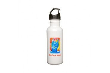 quot;Live, Love, Laughquot; Buddha - Stainless W Love Stainless Water Bottle 0.6L by CafePress