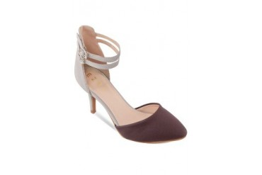EZRA by ZALORA Two Tone Kitten Heel Pumps With Double Ankle Strap