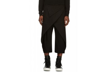 D.gnak By Kang.d Black Folded Overlap Trousers