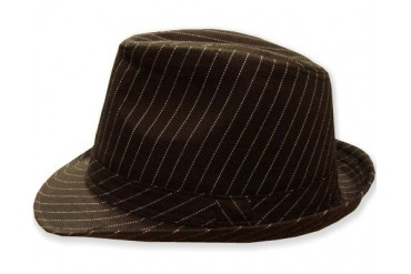 GodFather Pinstripe Fedora Hat (Dark Brown)