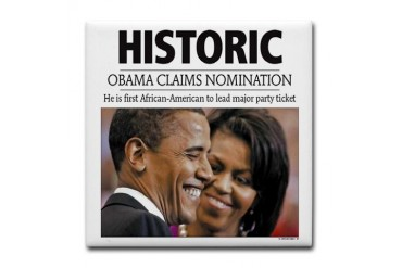 Historic - Obama Claims Nomination Tile Coaster