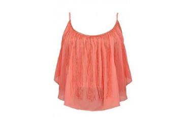 Festival gold fringe crop top