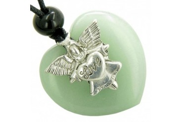 Guardian Spirit Angel Love Heart Money Amulet Green Quartz Necklace