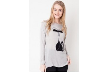 Red Lips Kitty Long Sleeves Blouse