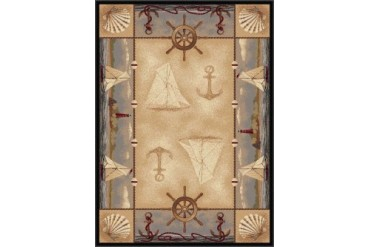 Tayse Nature Nautical Beige Nautical Boats Sailing Anchors Area Rug