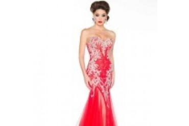 Mac Duggal Black White Red - Style 81901R