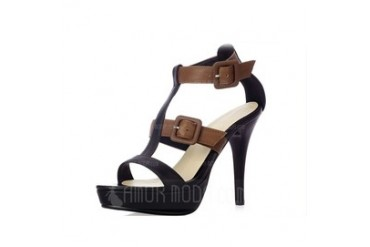 Real Leather Stiletto Heel Sandals Pumps Platform Peep Toe Slingbacks With Buckle shoes (087048825)