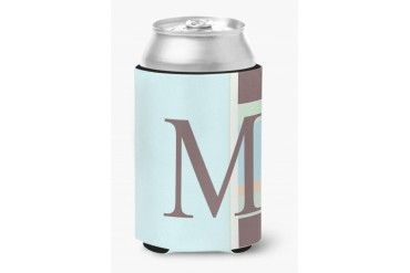 Letter M Initial Monogram - Blue Stripes Can or Bottle Beverage Insulator H
